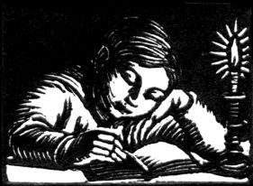 wood-engraving original print: Boy Reading for Cambridge Book of Poetry for Children